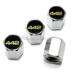 Oldsmobile 442 Logo Chrome ABS Tire Valve Stem Caps