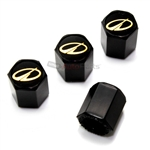 Oldsmobile Gold Logo Black ABS Tire Valve Stem Caps