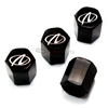Oldsmobile Aurora Silver Logo Black ABS Tire Valve Stem Caps