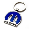 Mopar Logo Blue Chrome Keychain