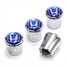 Honda Blue Logo Chrome Tire Valve Stem Caps