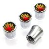 Fire Flames Logo Chrome Tire Valve Stem Caps