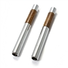 Chrome Metal and Walnut Wood Style Car Door Lock Knobs