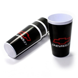 (4) Chevy Logo Black and White Cups