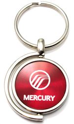 Red Burgundy Mercury Logo Brushed Metal Round Spinner Chrome Key Chain Spin Ring