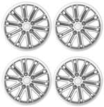 "14"" Car Silver/Charcoal Wheel/Rim Hub Caps Covers w/ Chrome Bolt Nuts - Set of 4"