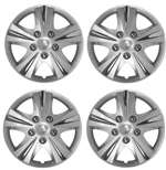 "14"" Premium Car Silver Wheel/Rim Hub Caps Covers w/Chrome Bolt Nuts - Set of 4"