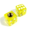 2 Premium Clear Yellow Dice Tire/Wheel Air Stem Valve Caps for Motorcycle-Bike