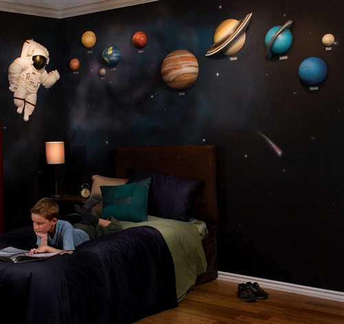 beetling solar system with space astronaut 3d wall art decor. Black Bedroom Furniture Sets. Home Design Ideas