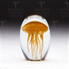 Handmade Glass Glowing Jellyfish Paperweight Orange 4""