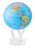 "Mova 6"" Solar Spinning Globe Blue with Political Map"