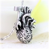 Human Heart Necklace - SIlver Detailed
