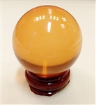 Amber Glass Sphere, 40mm Diameter with Stand