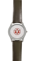 Men's Large Stainless Steel Medical ID Watch With Leather Band