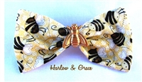 Bee Happy Hair Bow - Bee Print