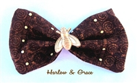 Bee Happy Hair Bow - Brown