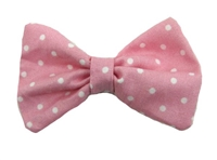 Polka Dot Hair Bow - Pink and White Fabric