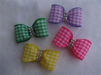 Gingham Hair Bows - Set of Four