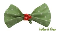 Polka Dot Hair Bow - Sage & Cream