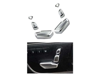 MATTE CHROME SEAT SWITCH COVERS SET FOR BOTH FRONT SEATS. ABS MATTE