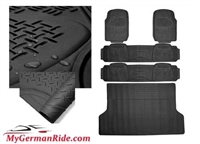 G-Wagon All Weather Heavy Duty Rubber Floor Mats Black 3 Row & Trunk Liner 00-18 W463 G500/G55/G550/G63