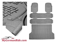 G-WAGON ALL WEATHER HEAVY DUTY RUBBER FLOOR MATS GRAY 3 ROW & TRUNK LINER 00-16 W463 G500/G55/G550/G63