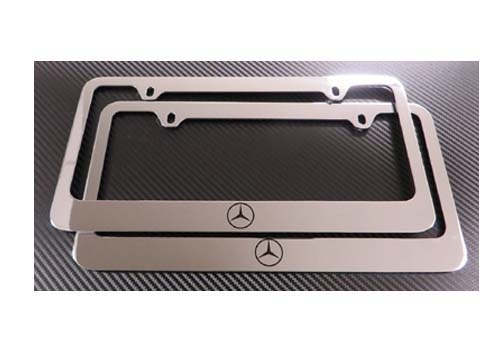 High Quality 2 MERCEDES BENZ CHROME W/LOGO METAL LICENSE PLATE FRAME + SCREW CAPS