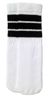 Black striped white tube socks