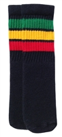 Kids socks with Green-Gold-Red stripes
