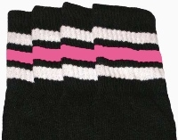 Kids socks with White-BubbleGum Pink stripes