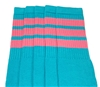 Mid calf AQUA sock with BUBBLEGUM PINK stripes