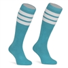 Mid calf AQUA sock with WHITE stripes