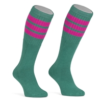 Mid calf socks with Gold-Baby Pink-Baby Blue stripes
