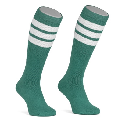 Mid calf TEAL sock with WHITE stripes