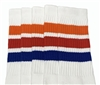 Mid calf socks with Orange-Red-Royal Blue stripes