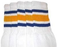 Mid calf socks with Royal Blue-Gold stripes