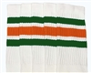 Mid calf socks with Green-Orange stripes