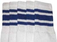 Mid calf socks with Royal Blue stripes
