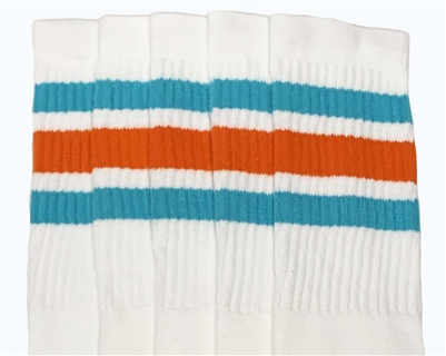 Mid calf socks with Aqua-Orange stripes