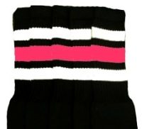 Mid calf socks with White-BubbleGum Pink stripes