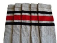 Mid calf Grey socks with Black-Red stripes