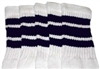 Mid calf socks with Navy Blue stripes