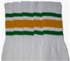 Mid calf socks with Green-Gold stripes