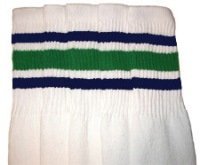 Mid calf socks with Royal Blue-Green stripes