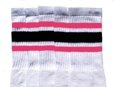 Mid calf socks with BubbleGum Pink-Black stripes