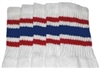 Mid calf socks with Red-Royal Blue stripes