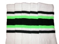 Mid calf socks with Black-Neon Green stripes