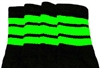 Mid calf socks with Neon Green stripes