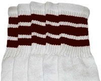 Knee high socks with Maroon stripes