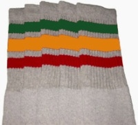 Knee high Grey socks with Green-Gold-Red stripes
